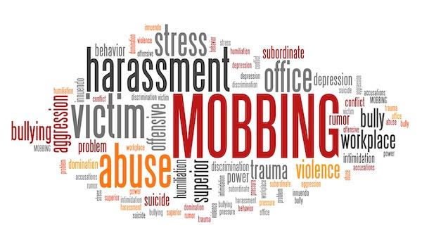 Mobbing - work place harassment problem. Employment word cloud.
